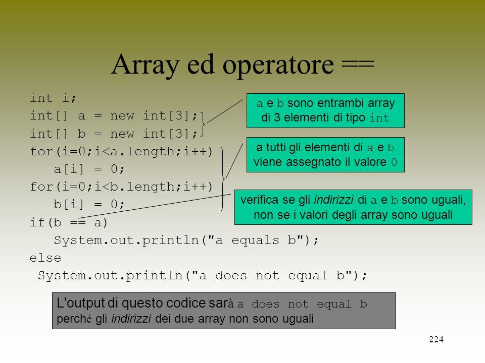 Array ed operatore == int i; int[] a = new int[3];